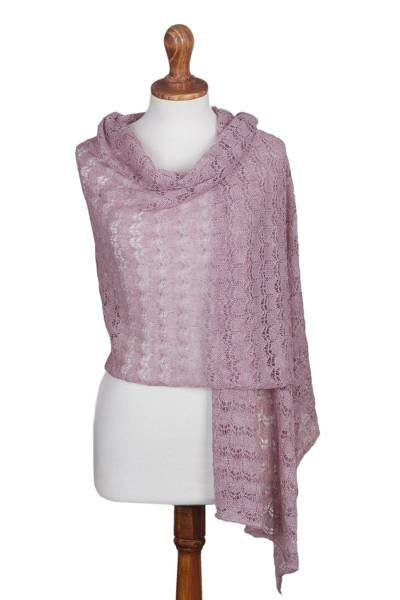 100% baby alpaca shawl, 'Dreamy Texture in Blush' - Textured 100% Baby Alpaca Shawl in Blush from Peru