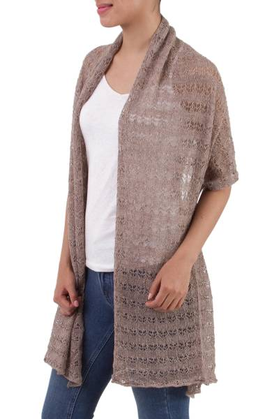 100% baby alpaca shawl, 'Dreamy Texture in Taupe' - Textured 100% Baby Alpaca Shawl in Taupe from Peru