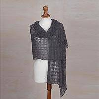100% baby alpaca shawl, 'Dreamy Texture in Slate' - Textured 100% Baby Alpaca Shawl in Slate from Peru