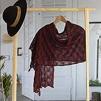100% baby alpaca shawl, 'Afternoon Chic in Maroon' - Textured 100% Baby Alpaca Shawl in Maroon from Peru