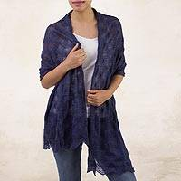 100% baby alpaca shawl, 'Afternoon Chic in Indigo' - Textured 100% Baby Alpaca Shawl in Indigo from Peru