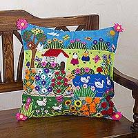 Cotton cushion cover, 'Happiness in the Country' - Handcrafted Patchwork Cotton Cushion Cover from Peru