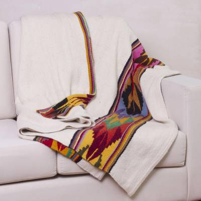 100% alpaca throw, 'Dream of the Andes' - 100% Alpaca Throw Blanket with Striped Patterns from Peru