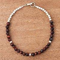 Tiger's eye beaded bracelet, 'Honey Belle' - Tiger's Eye and Sterling Silver Andean Fashion Bracelet