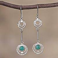 Opal dangle earrings, 'Sweet Flight' - Opal and Sterling Silver Dangle Earrings from Peru