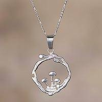 Sterling silver pendant necklace, 'Three Mushrooms' - Sterling Silver Mushroom Pendant Necklace from Peru