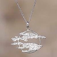 Sterling silver pendant necklace, 'Aurora Lights' - Abstract Sterling Silver Pendant Necklace from Peru