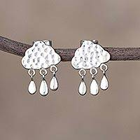 Sterling silver chandelier earrings, 'Afternoon Rain' - Rain-Themed Sterling Silver Chandelier Earrings from Peru