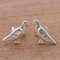 Sterling silver button earrings, 'Celestial Doves' - Dove-Shaped Sterling Silver Button Earrings from Peru