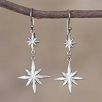 Sterling silver dangle earrings, 'Beauty of the Cosmos' - Star-Themed Sterling Silver Dangle Earrings form Peru