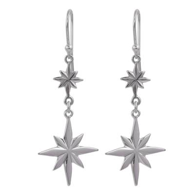Sterling silver dangle earrings, 'Beauty of the Cosmos' - Star-Themed Sterling Silver Dangle Earrings form Peru