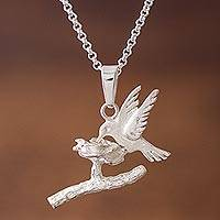 Sterling silver pendant necklace, 'Paradise Hummingbird'