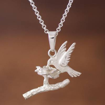 Sterling Silver Hummingbird Pendant Necklace from Peru