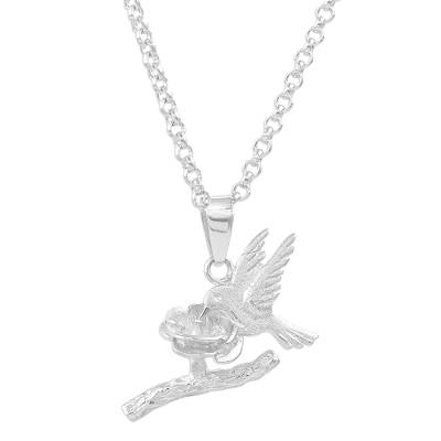 Sterling silver pendant necklace, 'Paradise Hummingbird' - Sterling Silver Hummingbird Pendant Necklace from Peru