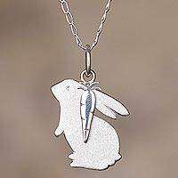 Sterling silver pendant necklace, 'Hungry Rabbit' - Rabbit and Carrot Sterling Silver Necklace from Peru