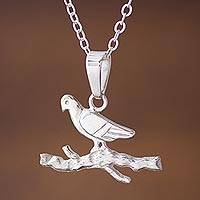 Sterling silver pendant necklace, 'Bird of the Mountain' - Dove-Shaped Sterling Silver Pendant Necklace from Peru