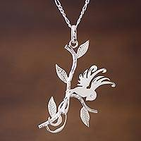 Sterling silver pendant necklace, 'Hummingbird in Love' - Sterling Silver Hummingbird Pendant Necklace from Peru