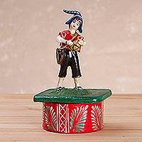 Plaster decorative box, 'Dance of San Blas' - Plaster Decorative Box Depicting a Musician from Peru