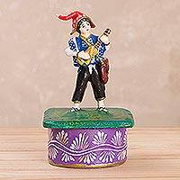 Plaster decorative box, 'Mystic Melody' - Hand-Painted Music-Themed Plaster Decorative Box from Peru
