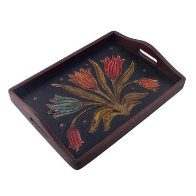 Hand-Tooled Floral Leather Tray from Peru