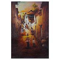 'Journey to the Sacred Valley' - Signed Realist Cityscape Painting from Peru