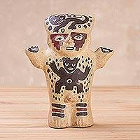 Ceramic statuette, 'Male Cuchimilco' - Handcrafted Ceramic Ancient Peruvian Statuette