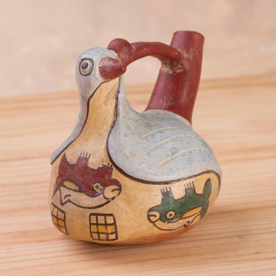 Decorative ceramic vessel, 'Nazca Bird Whistle Bottle' - Ceramic Replica Sculpture of a Nazca Bottle from Peru