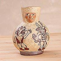 Ceramic decorative vase, 'Moche Pot' - Handcrafted Moche Ceramic Decorative Vase from Peru