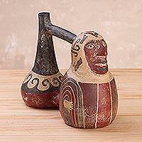 Ceramic decorative vessel, 'Wari Whistle Bottle' - Handmade Wari Ceramic Bottle Sculpture from Peru