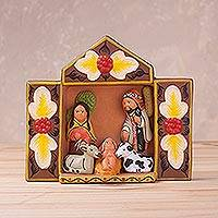 Ceramic figurine, 'Nativity Retablo' - Retablo-Style Ceramic Nativity Figurine from Peru