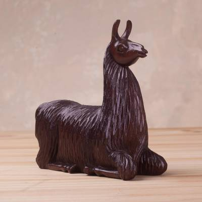 Mahogany wood sculpture, 'Resting Llama' - Hand-Carved Mahogany Wood Llama Sculpture from Peru