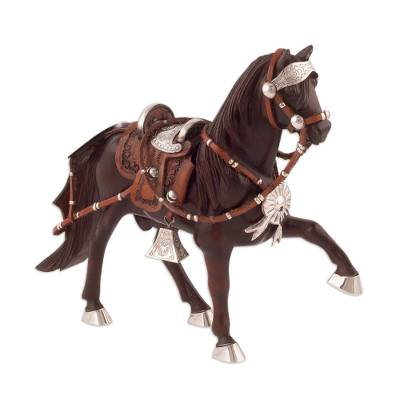 Sterling silver accent mahogany wood sculpture, 'Paso Horse' - Sterling Silver and Mahogany Horse Sculpture from Peru