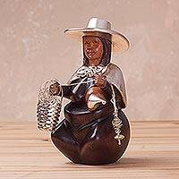 Sterling silver and mahogany wood sculpture, 'Woman Spinner of the Andes' - Sterling Silver and Wood Sculpture of a Woman from Peru