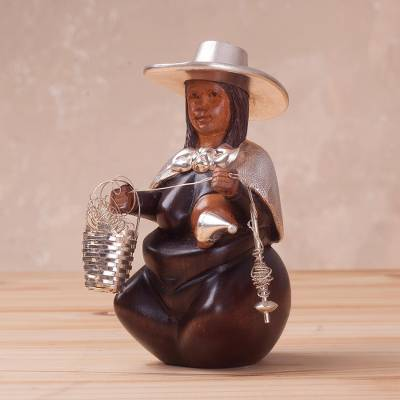 Sterling silver and mahogany wood sculpture, 'Woman Spinner of the Andes' - Sterling Silver and Mahogany Sculpture of a Woman from Peru