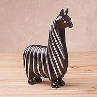 Sterling silver accented wood sculpture, 'Suri Llama' - Sterling Silver and Caoba Wood Llama Sculpture from Peru