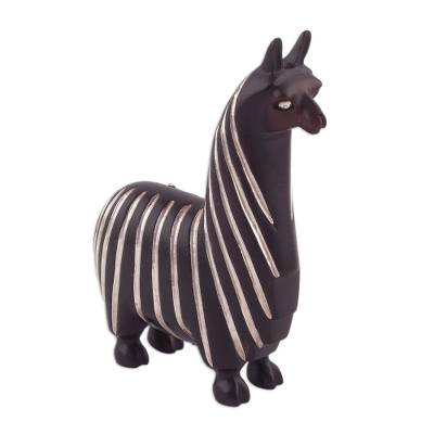Sterling silver accent mahogany wood sculpture, 'Suri Llama' - Sterling Silver and Mahogany Wood Llama Sculpture from Peru