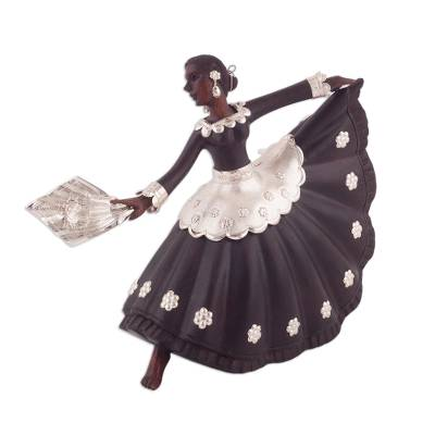 Sterling silver and mahogany sculpture, 'Marinera Dancer' - Sterling Silver and Mahogany Wood Dancer Sculpture from Peru