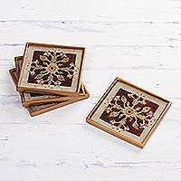 Reverse painted glass coasters, 'Floral Cream' (set of 4) - Four Floral Reverse Painted Glass Coasters from Peru