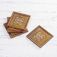 Reverse painted glass coasters, 'Colonial Gold' (set of 4) - Four Floral Gold-Tone Reverse Painted Glass Coasters