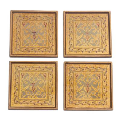 Four Floral Gold-Tone Reverse Painted Glass Coasters