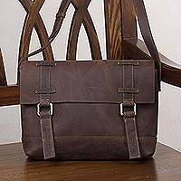 Leather messenger bag, 'Sober Style in Espresso' - Handcrafted Leather Messenger Bag in Espresso from Peru