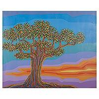 'Multicolor Horizon' - Peru Fantasy Tree Landscape Painting in Jewel Colors