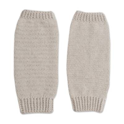 Alpaca blend leg warmers, 'Cozy Ivory' - Hand Crocheted Alpaca Blend Leg Warmers in Ivory from Peru