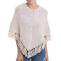 Alpaca blend poncho, 'Antique White Clouds' - Antique White Peruvian Poncho Crocheted by Hand with V-neck