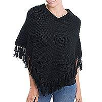 Alpaca blend poncho, 'Ebony Clouds' - Ebony Black Peruvian Poncho Crocheted by Hand with V-Neck