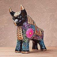 Ceramic sculpture, 'Proud Pucara Bull in Black' (10 inch) - Painted Black Ceramic Bull Sculpture (10 Inch) from Peru