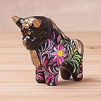 Ceramic figurine, 'Strong Pucara Bull' - Hand-Painted Floral Ceramic Bull Figurine from Peru