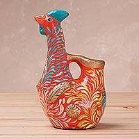 Ceramic sculpture, 'Colorful Chicken in Orange' - Hand-Painted Ceramic Chicken Sculpture in Orange from Peru