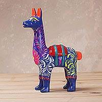 Ceramic sculpture, 'Floral Llama in Blue' (5 inch) - Hand-Painted Llama Sculpture in Blue (5 Inch) from Peru