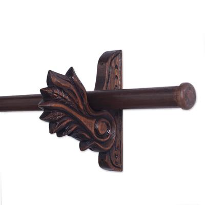 Cedar tapestry rod, 'Acanthus' (3.5 ft) - Carved Acanthus Leaf Cedar Wood Tapestry Rod